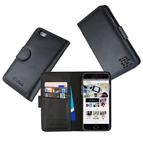 """Luxus Echtes Leder iPhone SE iPhone 5S 5 Ledertasche Kompakt Brieftasche Hülle mit """"Doppelt Schild"""" Schutz und Gegenüber Magnetverschluss um vermeiden Kreditkarte Korruption. Die Rila in Schwartz"""