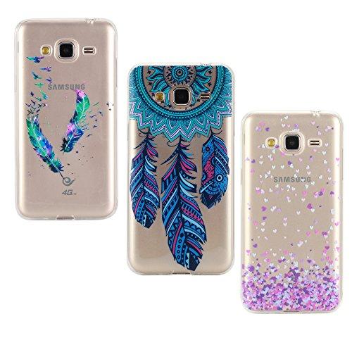 E-Mandala kompatibel mit Samsung Galaxy J3 2016 2015 Hülle Ultra Dünn Slim Durchsichtig Silikon Schutzhülle Handy Tasche Etui Handyhülle Transparent mit Muster - Feder Traumfänger Campanula Herz