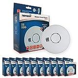 Nemaxx 10x HW-2 Funkrauchmelder - Hochwertiger Rauchmelder mit kombiniertem Rauch- und Thermosensor - Hitzemelder Nach Din EN 14604
