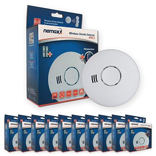 Nemaxx 10HW2 10x HW-2 Funkrauchmelder-hochwertiger Rauchmelder mit kombiniertem Rauch-und Thermosensor-Hitzemelder nach DIN EN 14604, 10 Stück