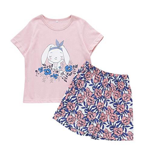 Julhold Kleinkind Kleinkind Kind Mädchen Süß Cartoon Lässig Schlank T-Shirt Tops + Print Shorts Outfits Set Kleidung 1-5 Jahre