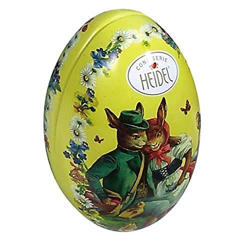 Heidel Confiserie Latta in Metallo a Forma di Uovo di Pasqua con Cioccolatini al Latte Ripieni con Crema Pralinata e Cereali Croccanti – 2 x 103 Gram - 2