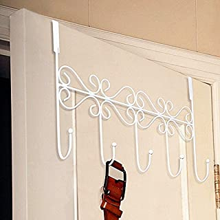 HapiLeap Over Door Hooks 5 Hooks Coat Clothes Storage Rack Wall Hanger (Style A (White))