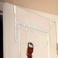 HapiLeap Over Door Hooks 5 Hooks Coat Clothes Storage Rack Wall Hanger (5 Hook (White))