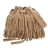 LOSORN ZPY Damen Messenger Bag Fransentasche Handtasche Schultertasche Troddelbeutel Umhängetasche (Beige)