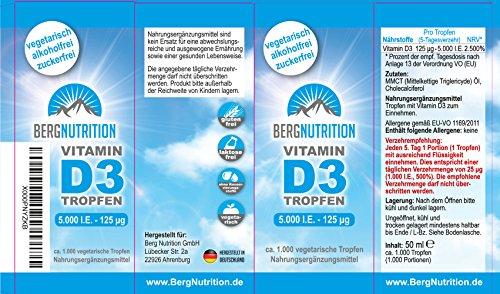 Berg Nutrition Vitamin D3 Tropfen | 5.000 IE – 50 ml – 1.000 Tropfen | Hochdosiert | 5 Tagesdosis (1 Tropfen/5 Tage – entspricht 1.000 IE pro Tag)
