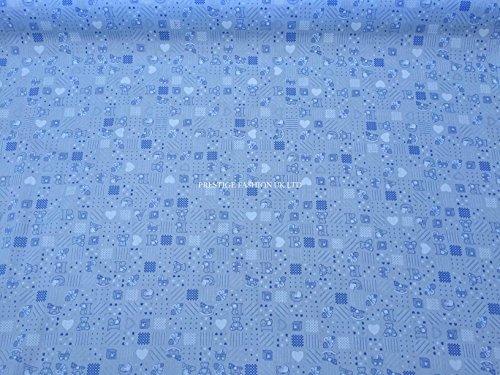 Waverly Floral Quilt (Prestige ABC Kinder Design Poly Baumwolle Print Stoff Kleid/Herstellen Craft machen Stoffe–Meterware ABC - Blue)