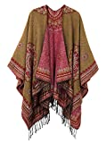 EXCHIC Damen Retro Schal Wrap Open Front Poncho Cape Wrap Schal (Series 3-Khaki)