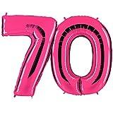 PartyMarty Ballon Zahl 70 in Pink - XXL Riesenzahl 100cm - zum 70. Geburtstag - Party Geschenk Dekoration Folienballon Luftballon Happy Birthday Rosa GmbH
