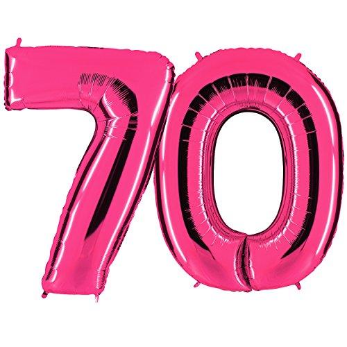 nk - XXL Riesenzahl 100cm - zum 70. Geburtstag - Party Geschenk Dekoration Folienballon Luftballon Happy Birthday Rosa - PARTYMARTY GMBH (70 Geburtstag Party)