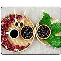 Luxlady Gaming Mousepad immagine ID: 34350307raccogliere di caffè torrefatto Rosso Bacche mature Caffè Bean Tazza di Caffè Nero Foglia Verde Bianco Fiore su cesto in bambù Amazing Design Decor Harmony per pubblicizzare