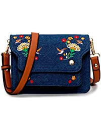 Besthome Fashion Mini Crossbody Bags For Women Small Satchel Bag Denim Leather Embroidery Style Shoulder Bag Leather...