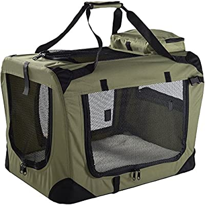 Mool Lightweight Fabric Pet Carrier Crate with Fleece Mat and Food Bag