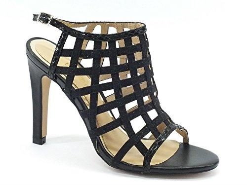 Sandalo a gabbia Cafè Noir LC909 in tessuto lamè nero (35)
