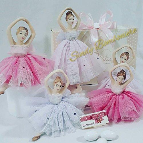 BOMBONIERE CHERRY & PEACH LINEA CHANEL (Ballerina piccola glicine (dimensione 11x15cm circa) con tutù in tulle con swarovski + scatola)