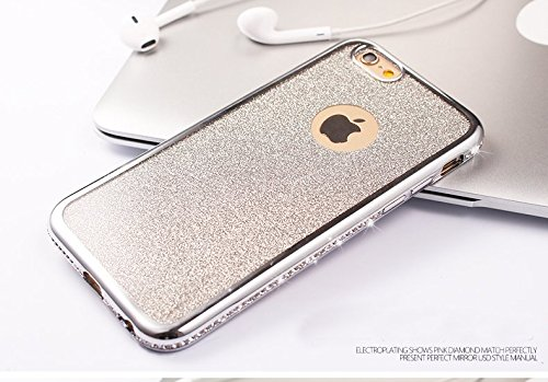 TPU Coque pour iPhone 6/6S, Sunroyal® Bling Crystal Case Etui Soft Silicone Gel Ultra Mince Prime Flex Skin Protection Back Cover - Argent Bling 03