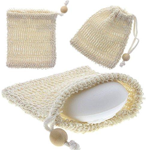 Sisal Seifensäckchen Kosmetex, für Seifenreste, Seifschwamm, Duschschwamm zum Einseifen, Badeschwamm, Groß 11x13cm, 1 Stück