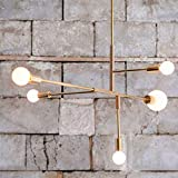 ZYY Quadratische Pendelleuchte, moderner Metall-Kronleuchter, Restaurant, verstellbare Arme, Winkel, Eisenbefestigung, Unterputzmontage, Industrielle Vintage Deckenlampe, mit 5 Leuchten (Gold) für Flu