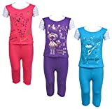 #2: Eazy Trendz Printed Half Sleeve Top & Bottom Tshirt And Pant For Baby Girls -Set Of 3 (4 -5 Years_Multi_56)
