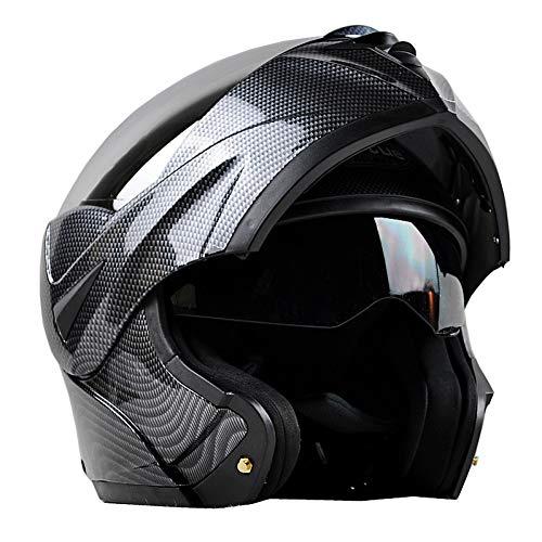 OME&QIUMEI Cascos Moto Racing De Fibra De Carbono Casco Abatible Casco Integral Cara Doble Lentes