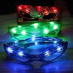 Gafas de sol para disfraz de Spiderman con luz LED, gafas de sol intermitentes, gafas de sol spider, con luces multicolor brillantes, las mejores regalos de fiesta, azul, Tamaño libre