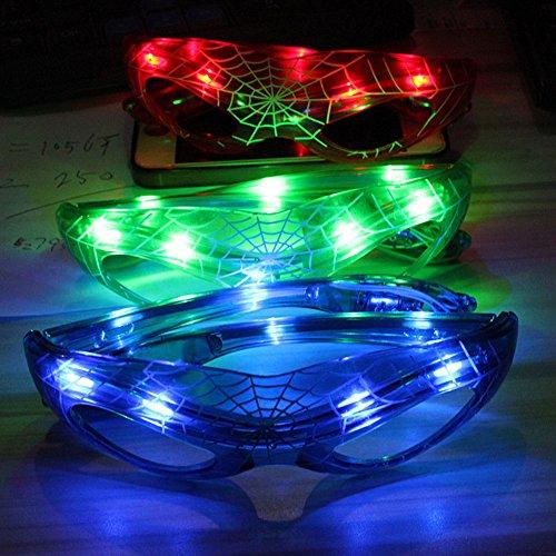Kostüm Neon Light Up - LED-Kostüm-Brille, Spiderman-Motiv, blinkende Sonnenbrille, Spinnennetz, mehrfarbig, leuchtende Lichter, beste Party-Freude, grün, Free Size