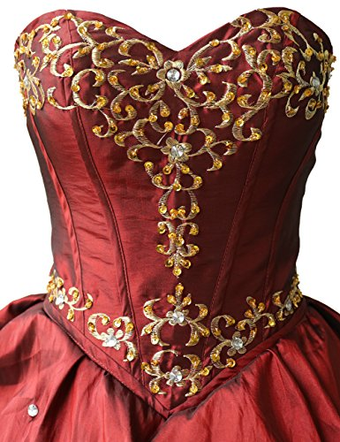Dressystar Robe femme, Robe de soirée, bustier, Broderie, Gradins,en taffetas Rouge Foncé