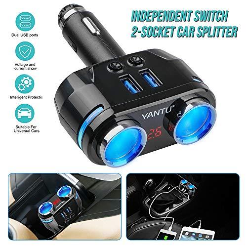 Wallfire 12V-24V 2-Wege-Auto Zigarettenanzünder Splitter Power Adapter Dual USB-Ladegerät Kfz-Ladegerät (Size : Normal Type) (Auto-power-splitter)
