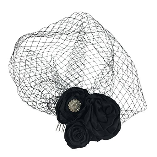 Hut Schleier Schwarzen Mit Kostüm - MagiDeal Haarschmuck mit Schleier für Kostüm Karneval Fasching - an der Innenseite der Kappe - Mini-Hut Fascinator - Schwarz Blumen, 25 x 25 cm