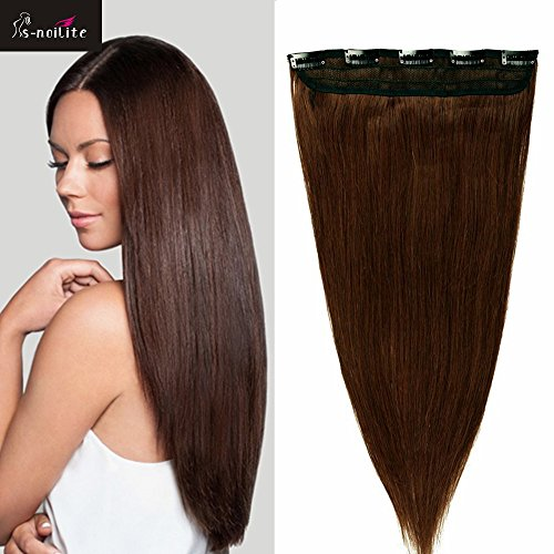 55cm 1pz 5 clips extension capelli veri umani remy lisci parrucca resistente al calore