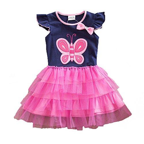 der Sommerkleid Blume Baumwolle Lässige Kinderkleidung Gr. 92-128 SH4555 4T ()