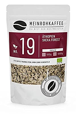 Green Coffee - Ethiopia Sheka Forest (Green Coffee Beans) - Strong, Spicy Aroma and Unique Fullness - from Controlled Biological-Organic Cultivation - 500g from kaffeearomen