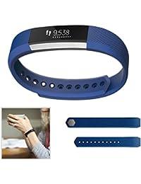 Dokpav® Bracelet de Montre Remplacement en Silicone, Bande de Poignet Rechange Etanche pour Montre Intelligente Fitbit Alta Bluetooth Smart Watch Sport - bleu saphir