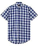 JEETOO Classics Herren Slim Kariert Kurzarm Hemd Freizeit Hemd Baumwolle Button-down Modern Hemd, (Small, Blau und Weiß)