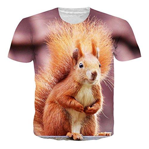 RAISEVERN 3D Eichhörnchen T Shirts Herren Damen Sommer Lustige Beiläufige Kurzarm Aufdruck Fun T-Shirt M - Eichhörnchen