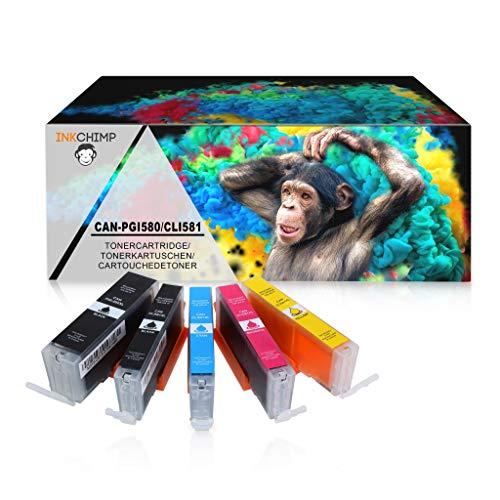 InkChimp 5 XL Tintenpatronen mit Chip kompatibel für Canon PGI580 CLI581 Pixma TR8550 TS6150 TS6151 TS6250 TS8150 TS8151 TS8152 TS8250 TS9150 TS9155 TS9550 TR7550 PGI-580 CLI-581