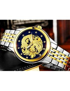 SNHWARZE Mens Watches with Automatic Mechanical Watch Luminous Waterproof Dragon Pattern