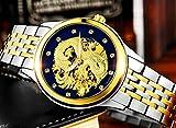 SNHWARE Herren-Uhren Automatische Mechanische Uhr Wasserdicht Leuchtende Drachen,E