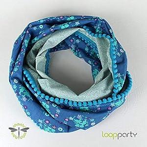 Loop-Schal blau türkis Pompom-Borte