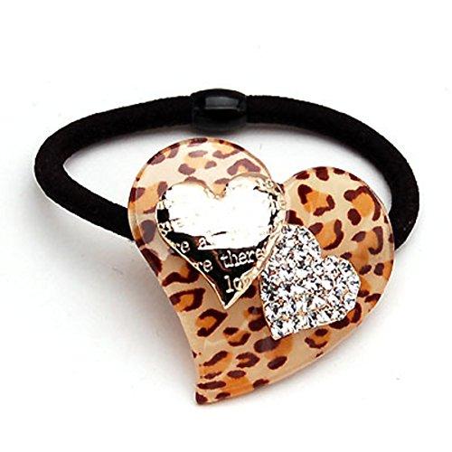 Versione coreana dell'anello cuore stampa leopardo/Amore ceco strass trattenere decorazione/ capelli-A