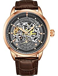 Stuhrling Original Men's Automatic Watch with Grey Dial Analogue Display and Brown Leather Strap 133.3345K54