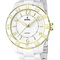 Festina F16633/1 - Reloj analógico de Cuarzo para Mujer con Correa de cerámica, Color Blanco de Festina