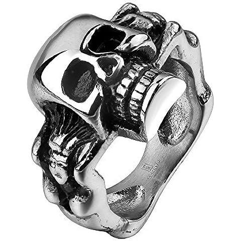 Massiccio anello acciaio inossidabile stile biker cranio dea unisex dimensione 20 Ø 19.1mm