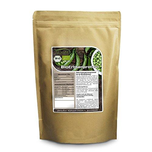 Nurafit BIO Erbsenprotein Pulver I mit essentiellen Aminosäuren I zertifizierte Spitzenqualität nach DE-001-ÖKÖ I veganes Eiweiß 80% I 1kg / 1000g