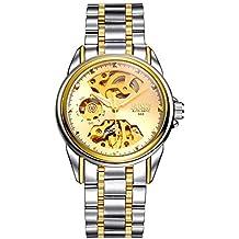 oumosi Hombres automático esqueleto reloj mecánico Hollow Out impermeable reloj de pulsera