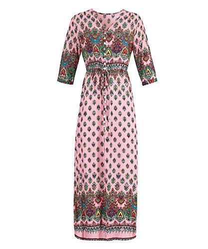Donna Vintage Boemia Vestito a manica lunga Estate Stampato Floreali Lungo Maxi Abiti Abito Da Spiaggia Partito Pink4