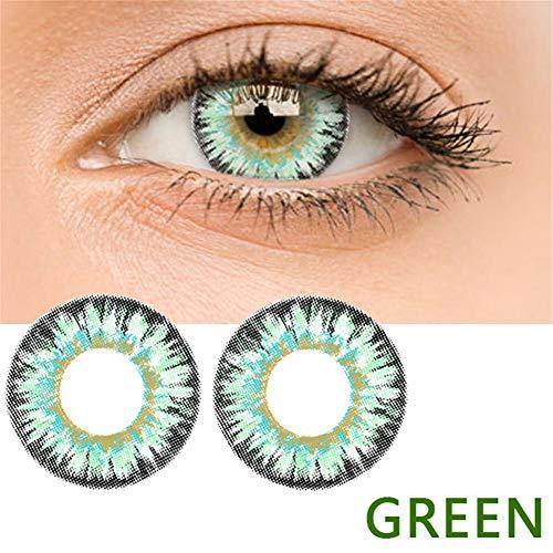 bulrusely Make-up-Zubehör für Mädchen, EIN Jahr, ändert die Augenfarbe natürlich, Cosplay, Halloween-Party, etc. 1 Paar (Funktion ohne Korrektur, 0 Grad) grün (Halloween Rezept-kostüm Kontaktlinsen)