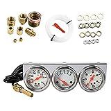 2.27 Pollici Manometro Pressione Olio Calibro Triplo Elettronico Pressione Olio Auto,Temperatura dell'acqua,Voltmetro,Misuratore per Moto Auto 3 in 1