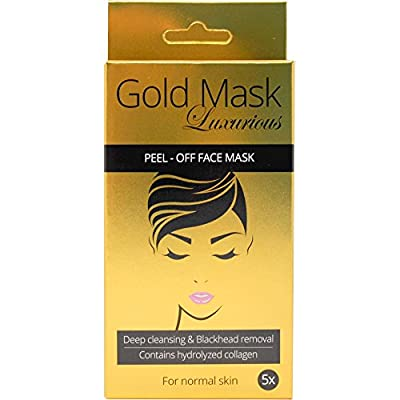 Kanellbular Luxurious 24K Gold Blackhead Mask Masks X 5 Pieces with Hydrolysed Collagen Anti Ageing and Firming; Nourishing and Moisturising; Restoring Skin elasticity by The Netherlands