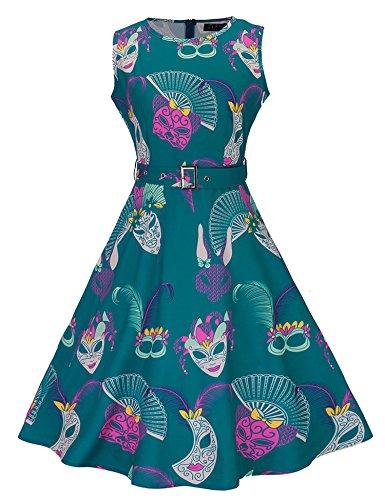 MEXI Sommer Ärmellos A-Linie Print Kleid Schlittschuhläufer Kleid mit Gürtel Grün
